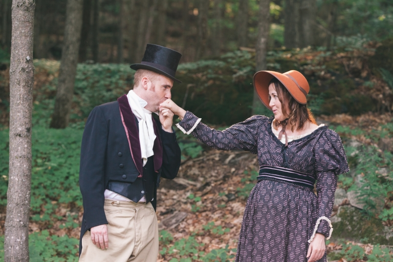 P&P pride and Prejudice themed engagement photos costumes